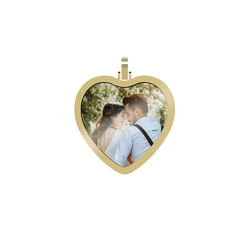 Large Heart 2.6mm Wide Gold Custom Picture Pendant