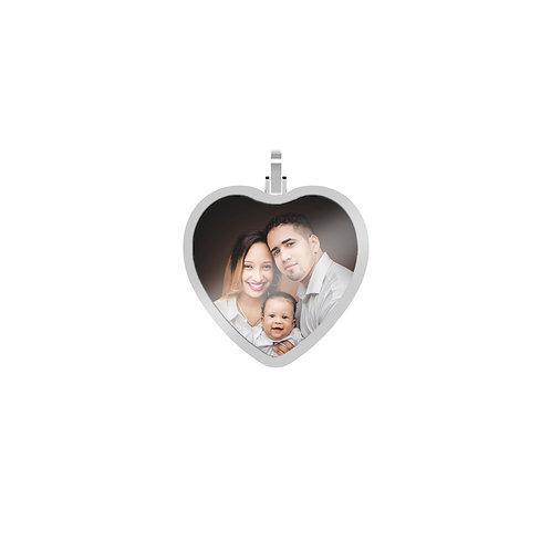 Medium Heart 1.7mm Wide Silver Custom Picture Pendant