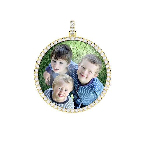 X-Large Gold Custom 2.6mm wide Diamond Picture Pendant