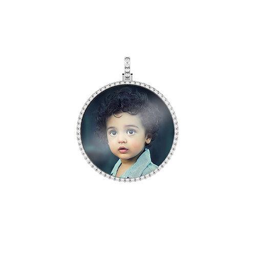 Large Silver Custom Birthstone Cubic Zirconia Picture Pendant