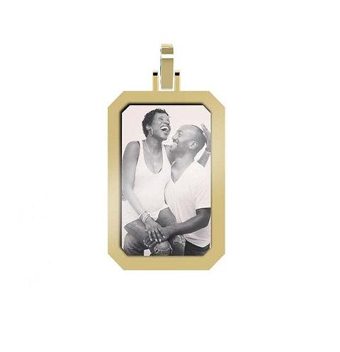 Small Emerald 1.7mm Wide Gold Custom Picture Pendant