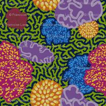 Floral Coral Blue Design Print