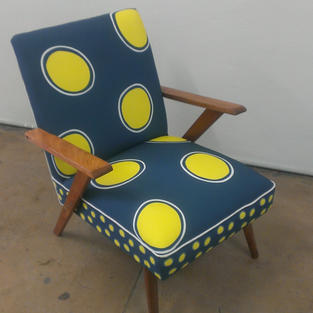 Restored Occassional Chair in Styling Up with the Clown Trigger Fish Circles Upholstery Textile