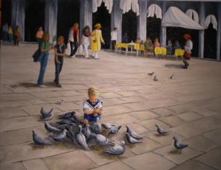 """Feeding the pigeons in Milan"""