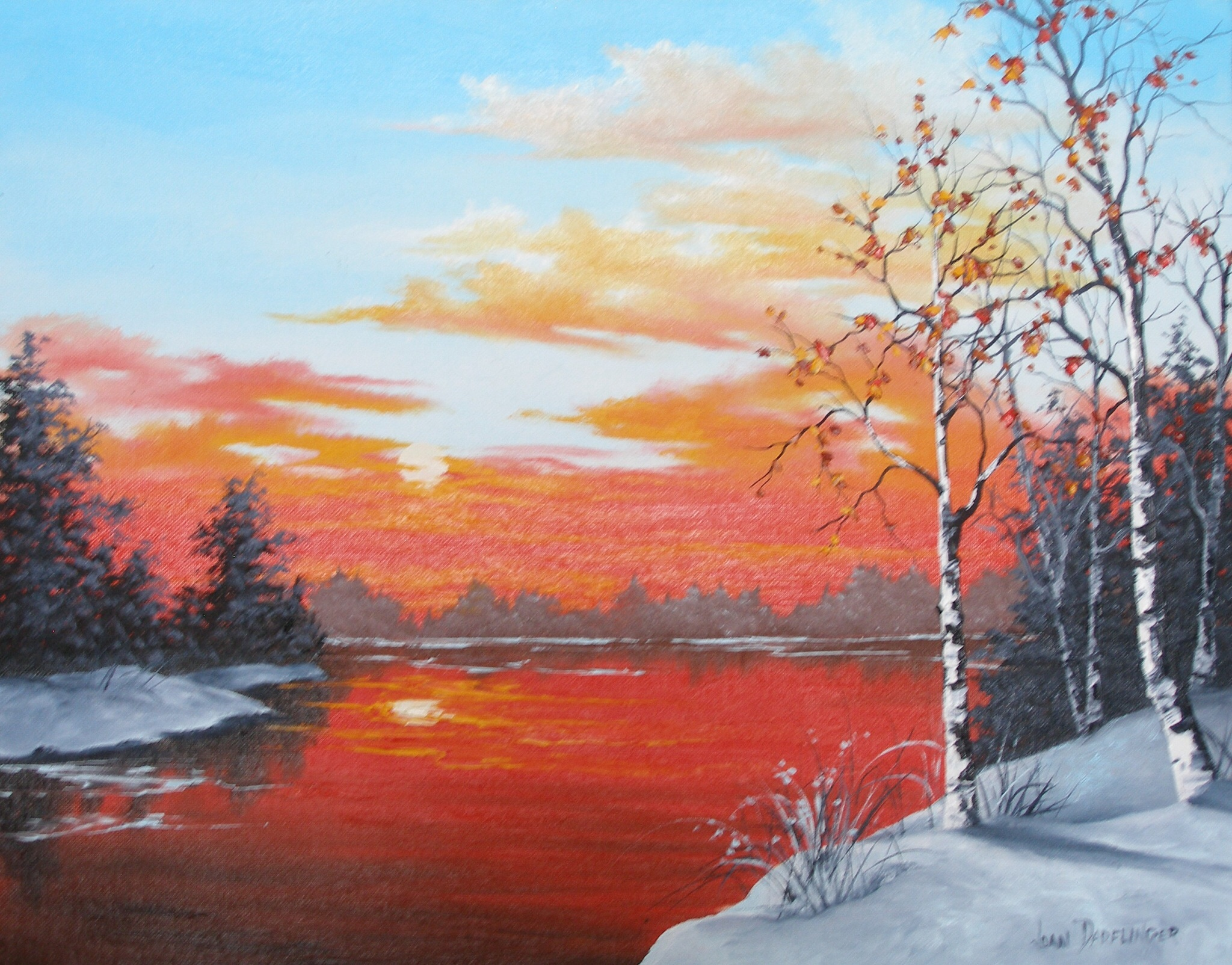 """Winter's Orange Sunset"""