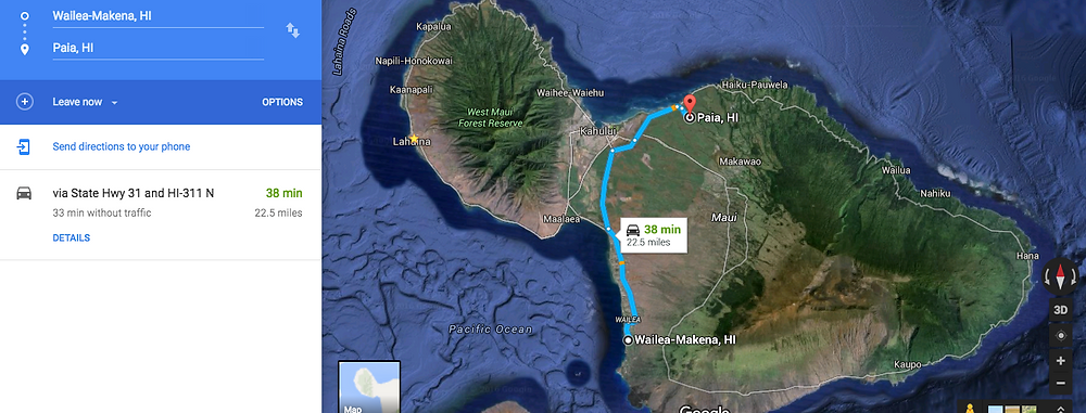 How long does it Take from Wailea to Road to Hana?