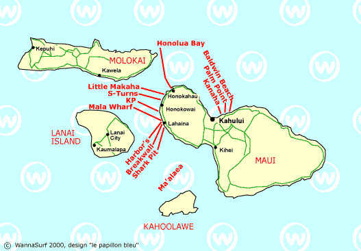 Where to surf in maui map, Maui surf guide