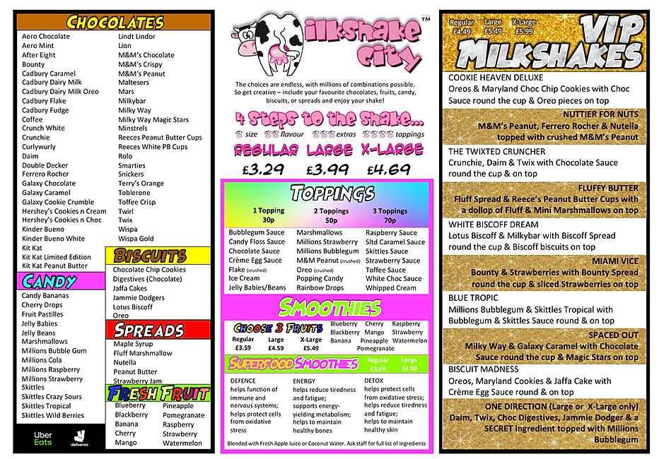 MILKSHAKE CITY MENU