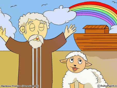 Noah's Ark Rainbow Coloring Page