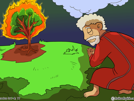 Moses and the Burning Bush Exodus 3:1-12 Bible Story With Coloring Pages For Kids