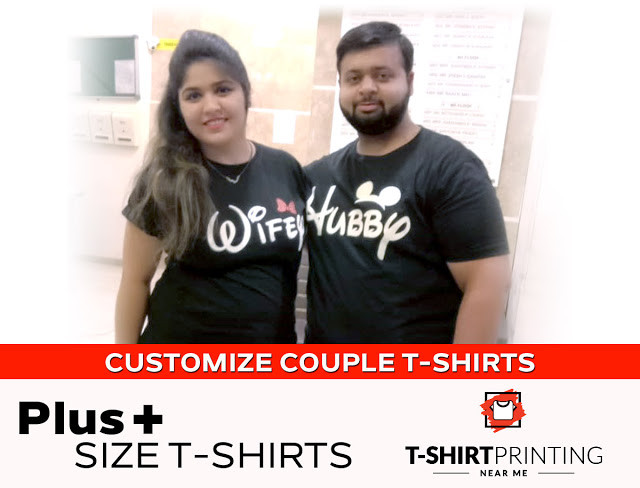 Couple wearing Couple T-shirt with the caption print Hubby wifey. Plus size couple T-shirts in Mumbai Mulund.
