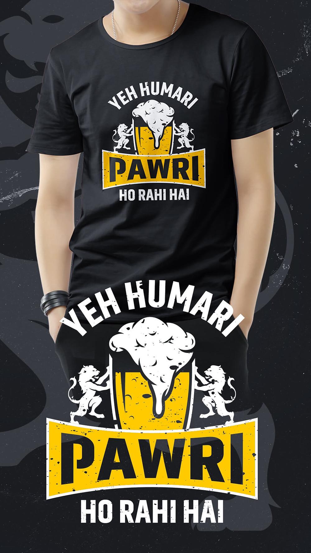 Black T-shirt with Pawri ho rahi hai Print on the chest , Pawri ho rahi hai T-shirt in Mumbai Mulund, Pawri ho rahi hai t-shirt online India Mumbai, #PawriHoRahiHaiTshirt