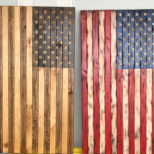 37'' X 19.5'' wooden american flag