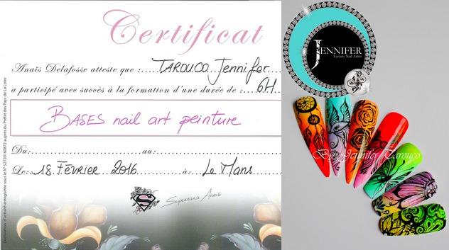Certificat Bases nail art peinture