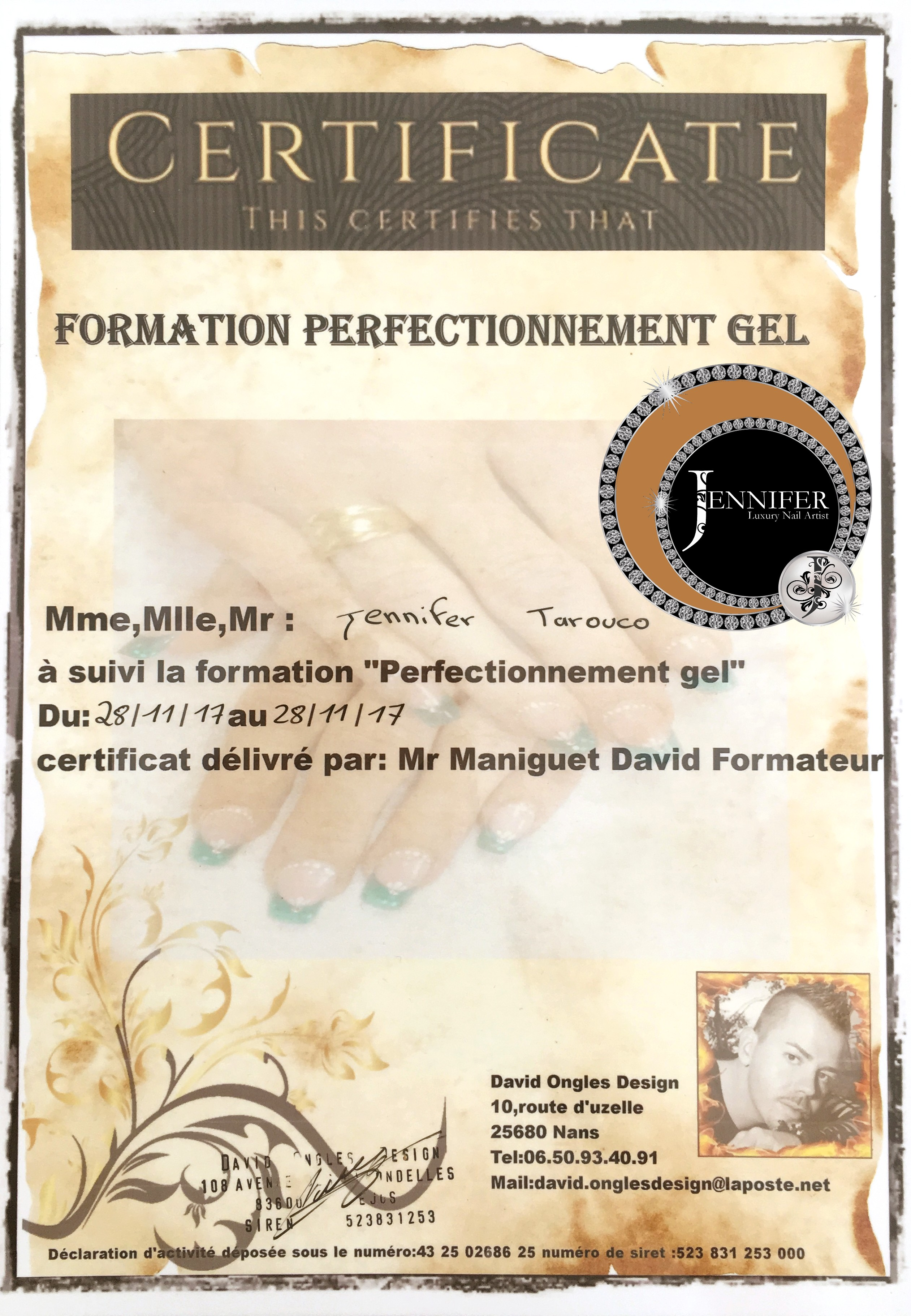 Certificat Perfectionnement gel David