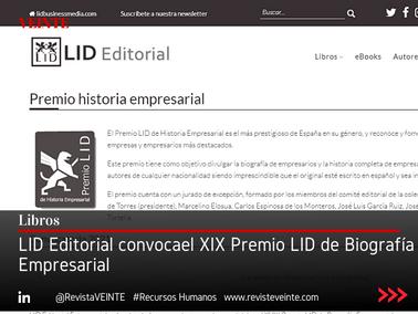 LID Editorial convocael XIX Premio LID de Biografía Empresarial
