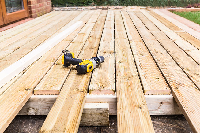 A new wooden, timber deck being construc