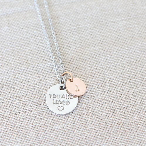 You are Loved Necklace with Initial Pendant