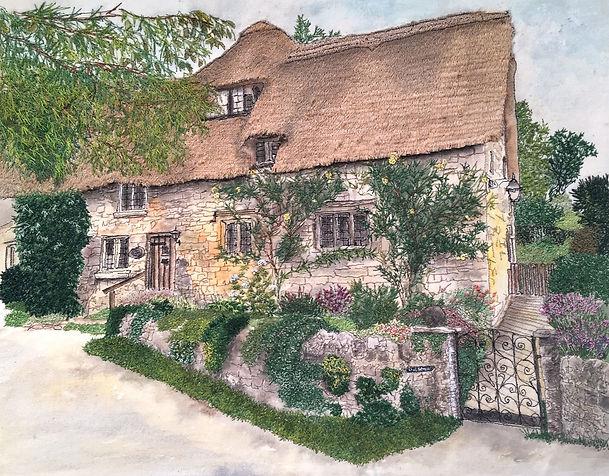 """'Cotswold Cottage, Stanton' measuring 43cms x 37cms (16.9"""" x 14.5"""")"""