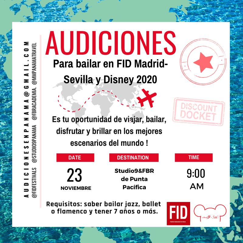 Audiciones para FID & Disney 2020