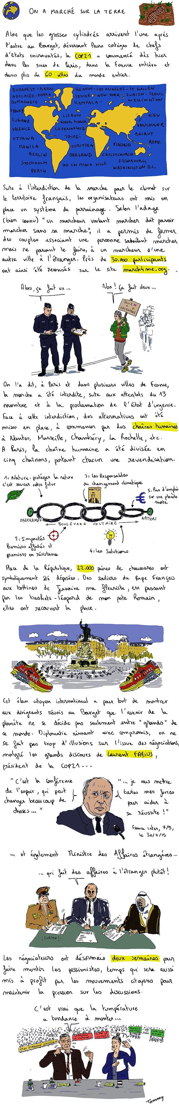 Première chronique de Tommy Dessine sur la COP 21, avec les mobilisations citoyennes du dimanche 29 novembre.