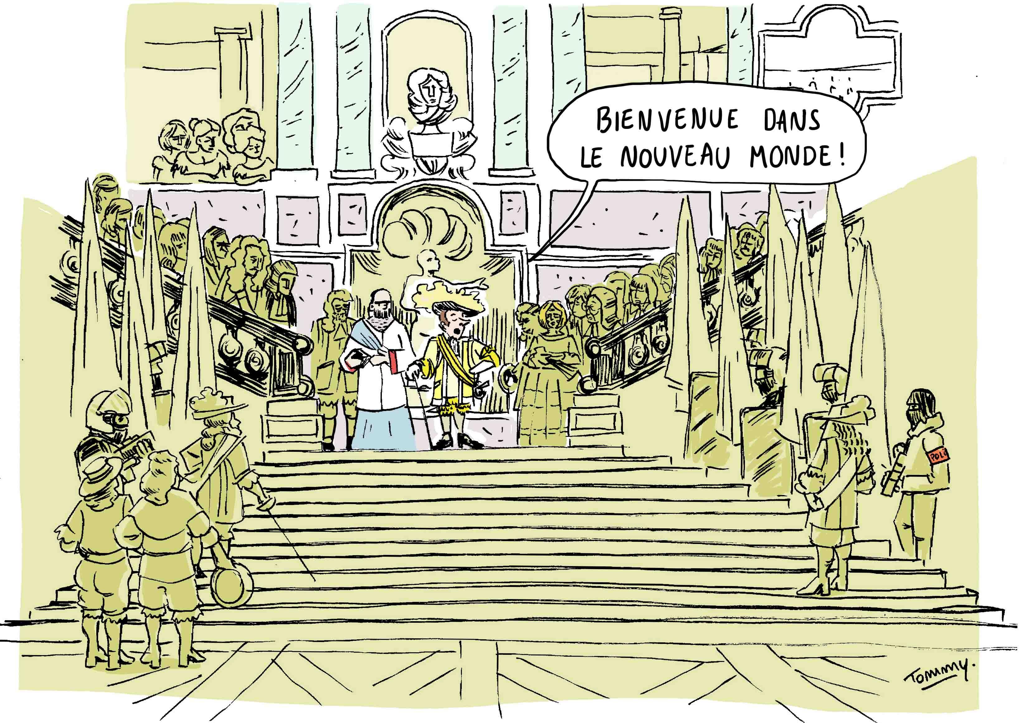 Macron et les patrons à Versailles