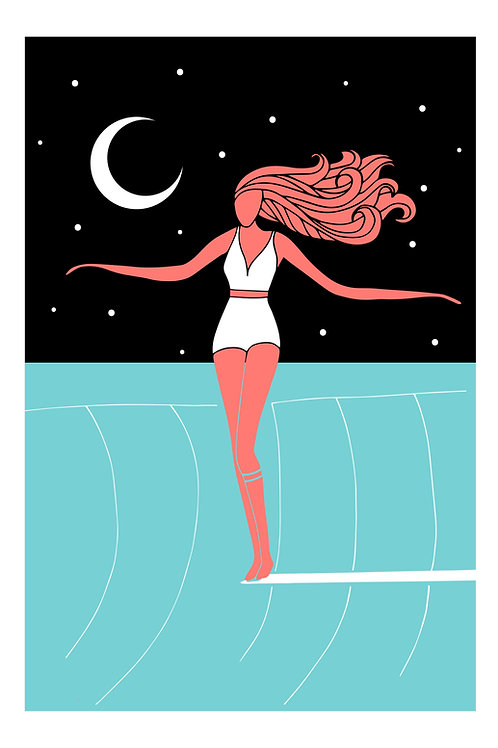 Surfer girl blue moon