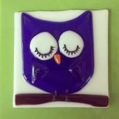 Walk-in fused glass owl nightlight project example #fusedglass