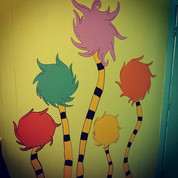 Stole this pic from _gingrrbright fun #truffula trees painted on the bathroom walls #CeramicLodge #DrSeuess