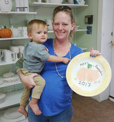 Oh BABY! This little customer bared it ALL in our studio this morning and made the CUTEST little _bum_pkin plate! 🎨🍊🎨🍊🎨 #ceramiclodge #pyops
