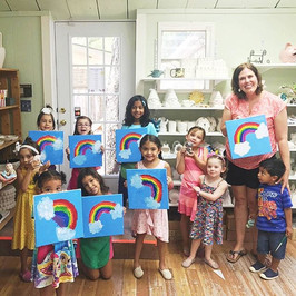 Jordan requested a rainbow canvas for her painting party so we came up with one! Happy birthday, sweet girl!! #ceramiclodge #canvaspaintingp