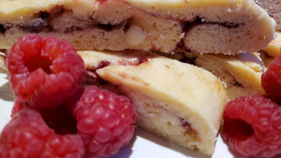 Raspberry White Chocolate Biscotti