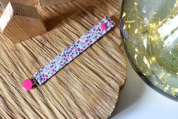 Attache tétine tissu fleuri rose et violet