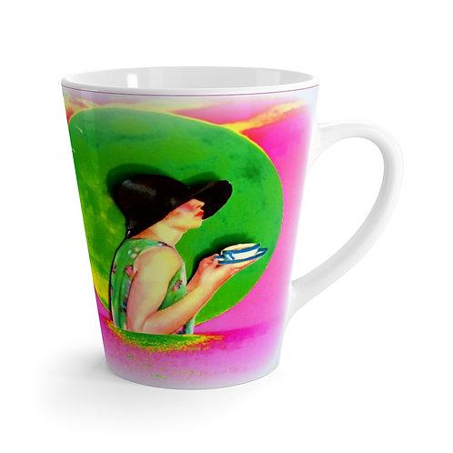 BOHO Chic Kitchen Decor 12oz Tea Latte mug Art Deco Woman Under Green Full Moon