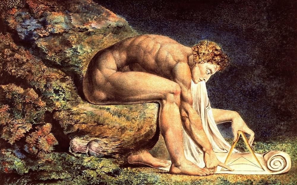 Rappresentazione del genio di Newton che, intento a risolvere un problema chinato a terra sulla carta, non si accorge di dare di fatto le spalle a quello che è il mondo reale.