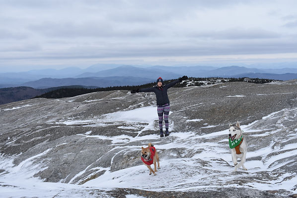 Luna, Blaze and I on Mt. Cardigan