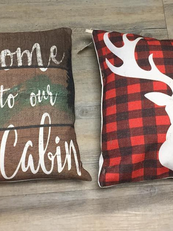 Cabin & Deer Plaid Pillows