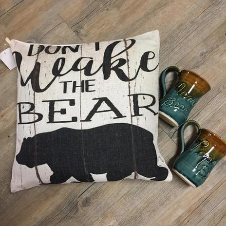Mama Bear Pillows and Pottery Mugs