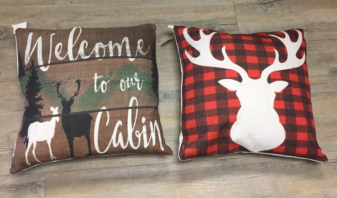 Cabin and Deer Pillows
