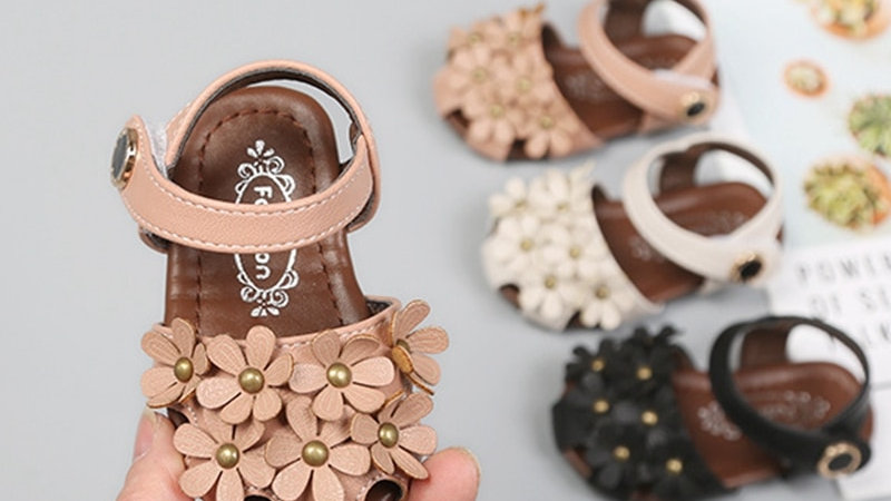 Girls Sandals Baby Girls Flower Shoes 11.5-15.5cm  0-3Years