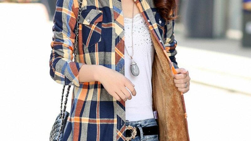 Long Sleeve Thick Velvet Plaid Shirt Flannel Shirts Full Cotton Top