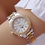 Thumbnail: Women Crystal Diamond Watches Stainless Steel Silver