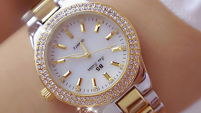 Women Crystal Diamond Watches Stainless Steel Silver