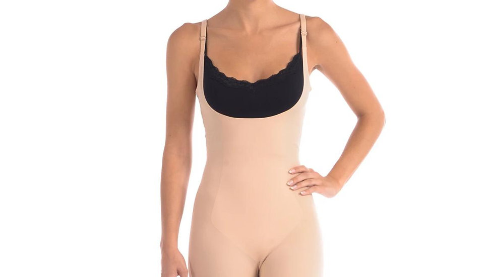 Wear Your Own Bra Bodysuit Shaper With Targeted Double Front Panel Nude