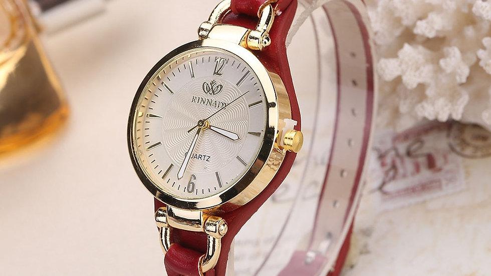 Leather Strap Wristwatch Ladies Analog Quartz
