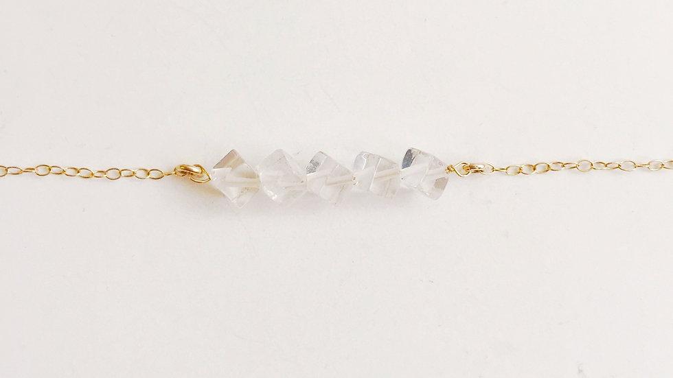 Crystal Quartz Square Minimalist Necklace