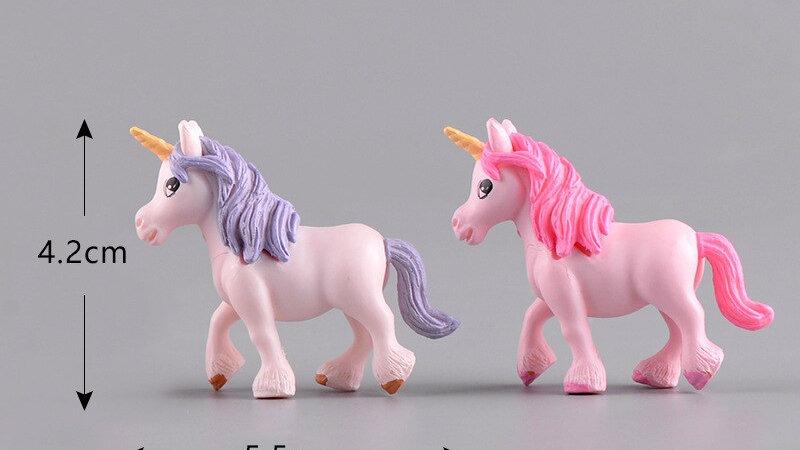 2pc 4x5cm Unicorn Horse Elf Statue Animal Model Figurine