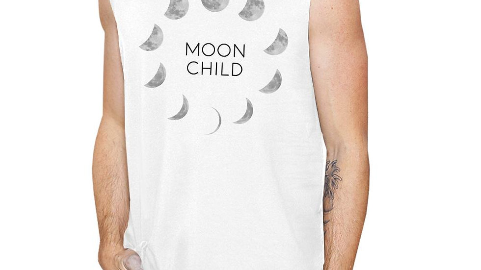 Moon Child Mens White Muscle Top