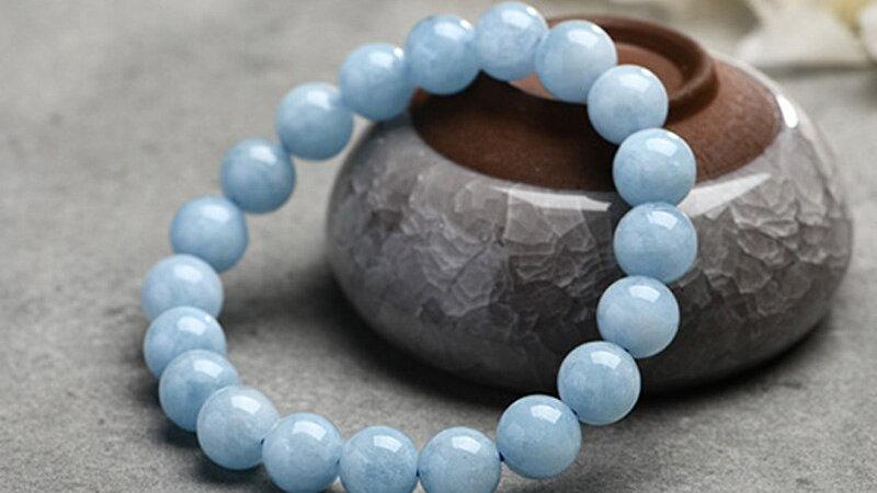 Natural Aquamarine Bracelet 6-10mm Beads Romantic Casual Crystal Yoga Bracelet