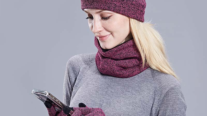 New Knitted Winter Hat Scarf Gloves Set